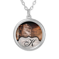 Personalized Necklace Cowboy Boots Barn Wood Rusti
