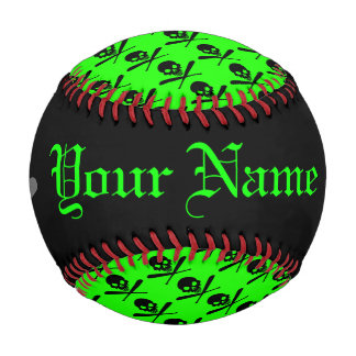 Personalized Neon Baseball Skull and Crossed Bats
