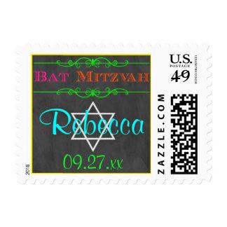 Personalized Neon Bat Mitzvah Postage