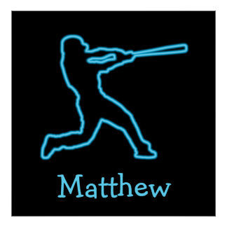 Personalized Neon Blue Baseball Batter Poster