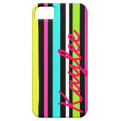 Personalized Neon Blue Pink Yellow Green Stripes iPhone 5 Covers