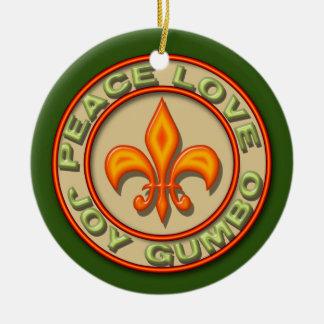 Personalized Neon Fleur de Lis Peace Love Gumbo Double-Sided Ceramic Round Christmas Ornament