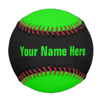 Personalized Neon Green and Black Baseball