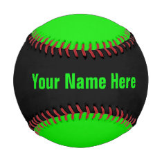 Personalized Neon Green And Black Baseball at Zazzle
