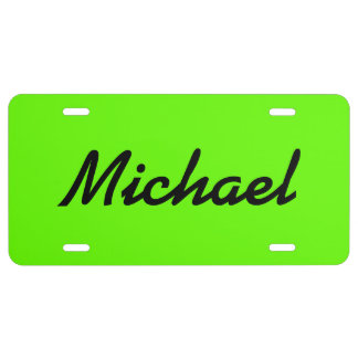 Personalized neon green license plate with name