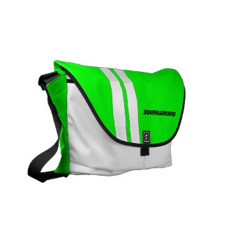 Personalized Neon Green Racing Stripe Messenger Courier Bag