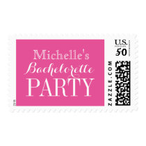 Personalized neon pink bachelorette party stamps