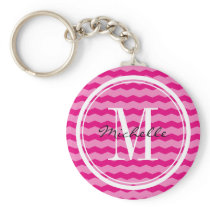 Personalized neon pink chevron monogram key chain