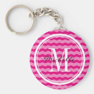 Personalized neon pink chevron monogram key chain