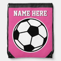 Personalized neon pink girls soccer drawstring bag