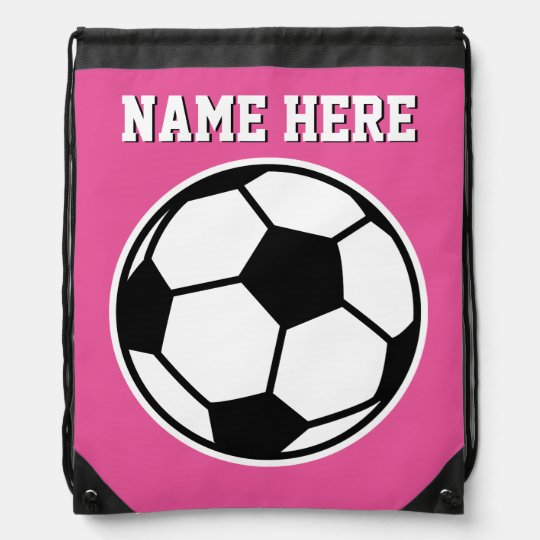 Personalized Neon Pink S Soccer Drawstring Bag