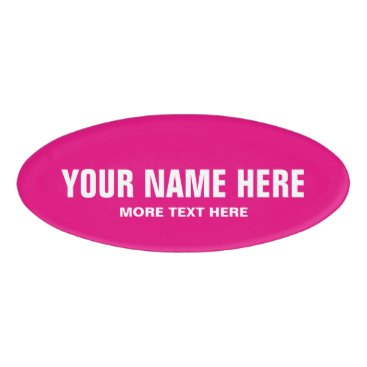 Professional Business Personalized neon pink magnetic name badge tag
