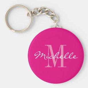 Personalized neon pink monogram button keychain