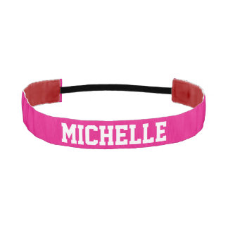 Personalized neon pink non slip headband for girls
