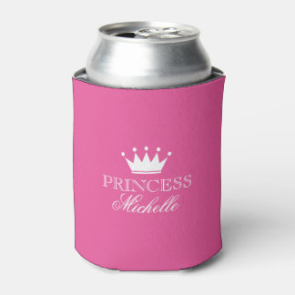 Personalized neon pink princess crown can coolers can cooler