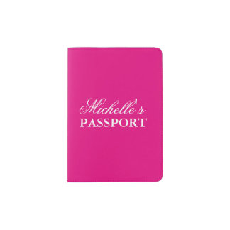 Personalized neon pink solid color passport holder