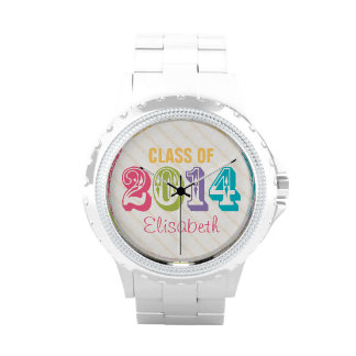 PERSONALIZED NEON RAINBOW CLASS OF 2014 WRISTWATCHES
