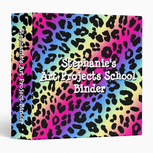 Personalized Neon Rainbow Leopard Pattern School Binder