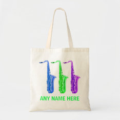 Personalized Neon Saxophones!  Add Any Name/text. Tote Bag at Zazzle