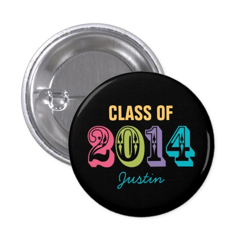 Personalized Neon Typography Class of 2014 Buttons