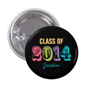 Personalized Neon Typography Class of 2014 Pinback Button