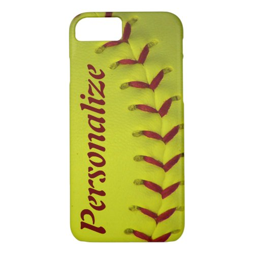 Personalized Neon Yellow Softball Phone Case