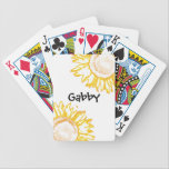 "Personalized Neon Yellow Sunflowers Playing Cards<br><div class=""desc"">Add your name or text to the pretty Personalized Neon Yellow Sunflowers Playing Cards. A cute and custom flowery deck of cards makes a unique gift idea for a flower lover, gardener or florist. These botanical playing cards feature a digitally enhanced floral photograph of a sunflower adorning the corners with...</div>"