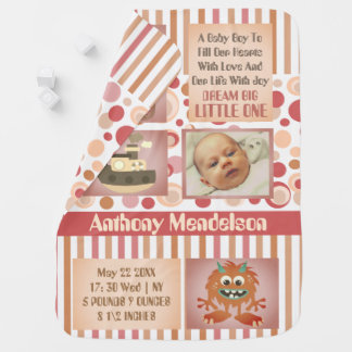 Personalized neutral baby birth stats swaddle blanket