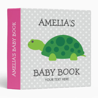 Personalized new baby binder book with cute turtle