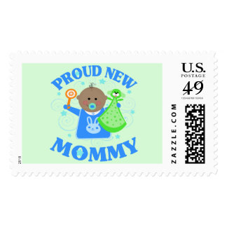 Personalized New Baby Boy Postage Stamp Ethnic