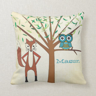 Personalized New Baby Boy s Room Cute Fox and Owl Pillows