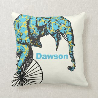Personalized New Baby Boy's Room Circus Elephant Throw Pillows