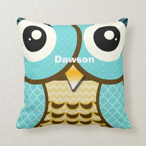 Cute Aqua Throw Pillows : Personalized New Baby Boy s Room Cute Aqua Owl Throw Pillows Zazzle