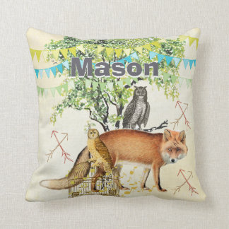Personalized New Baby Boy's Room Cute Fox and Owl Pillows