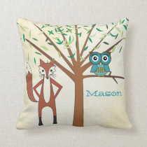 Personalized New Baby Boy's Room Cute Fox and Owl Throw Pillow