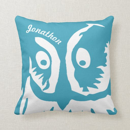 Personalized New Baby Boy s Room Cute Teal Owl Throw Pillows Zazzle