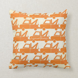 Personalized New Baby Boy's Room Orange Dump Truck Pillow