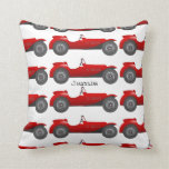 Personalized New Baby Boy's Room Red Classic Car Throw Pillow