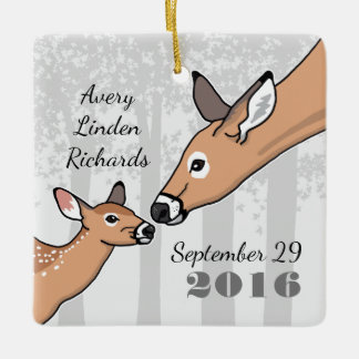 Personalized New Baby Cute Deer Fawn Ceramic Ornament