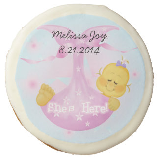 Personalized New Baby Girl She's Here Photo Cookie