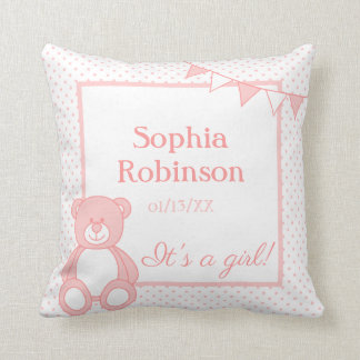 Personalized New Baby Girl Teddy Bear Pillow
