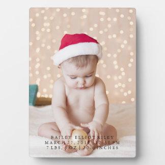 Personalized New Baby Photo Christmas Celebration Plaque