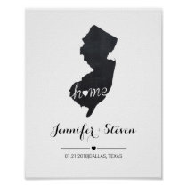 Personalized New Jersey State Map Chalkboard Poster
