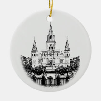 Personalized New Orleans Jackson Square Christmas Ceramic Ornament