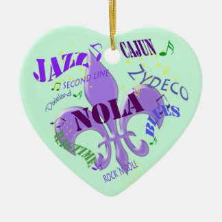 Personalized New Orleans Music Green Christmas Ornaments