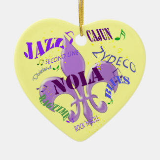 Personalized New Orleans Music Yellow Ceramic Ornament