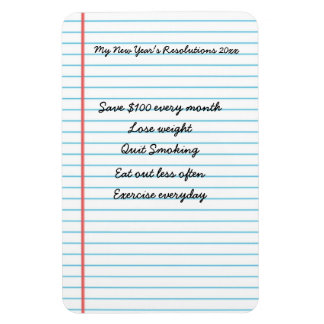 Personalized New Year's Resolutions Reminder List Magnet