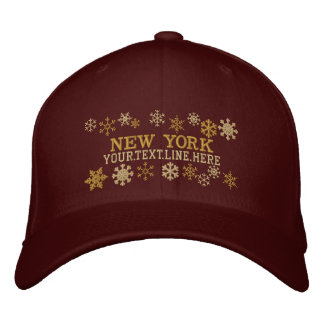 Personalized New York Winter Snowflakes Embroidered Hat