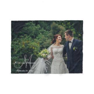 Personalized Newlywed Keepsake Monogram Photo Fleece Blanket