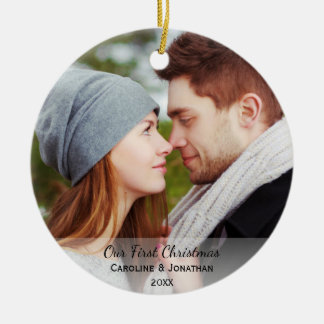 Personalized Newlywed Photo Our First Christmas Ceramic Ornament